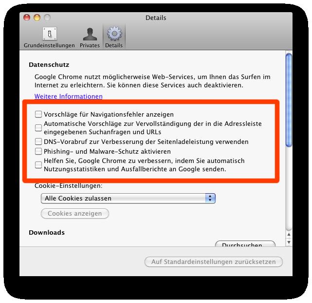 Chrome privacy setting