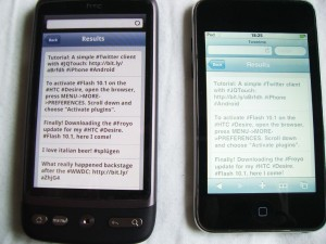 jQTouch working on iPhone and Android