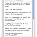 JQTouch example screenshot with twitter search results