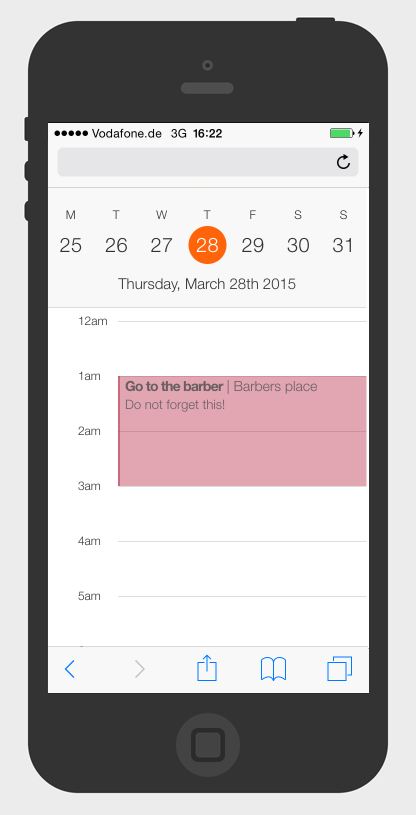 iOS calendar made with HTML and CSS