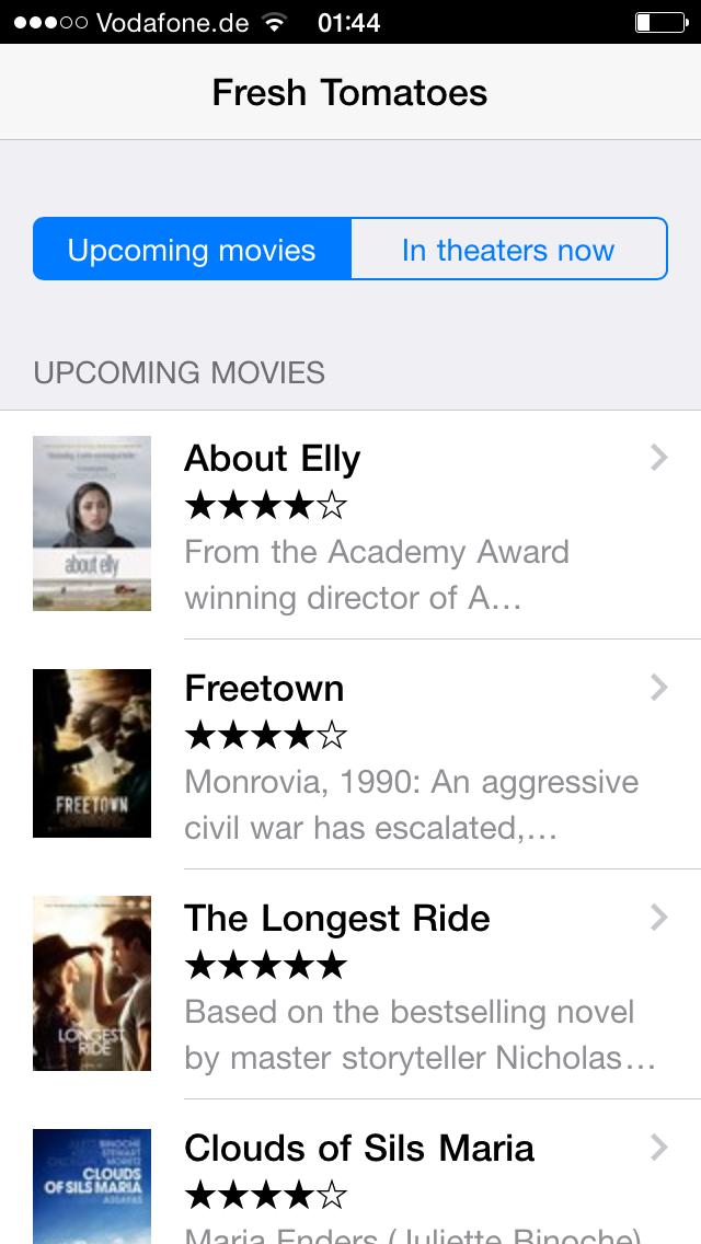 Framework7 with Angular movie list demo