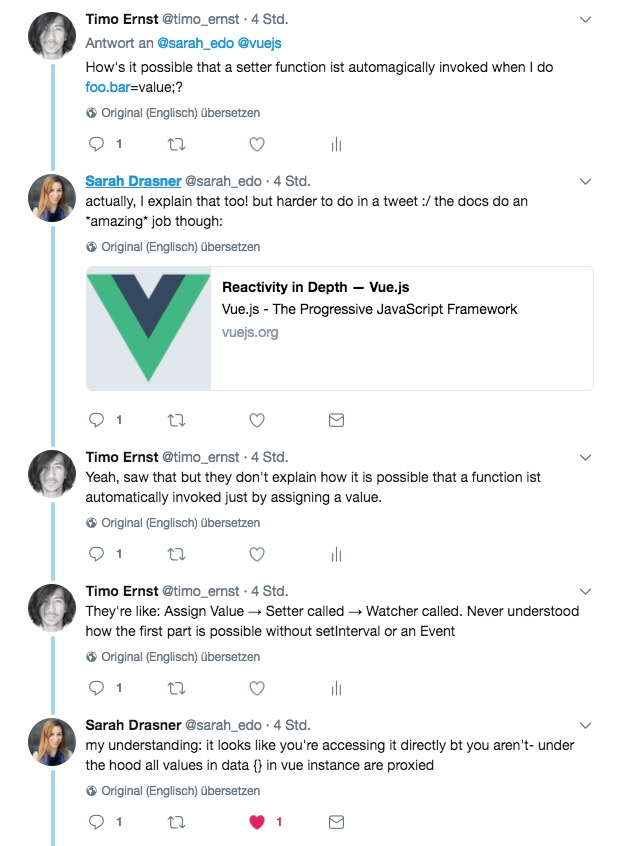 Twitter conversation with Sarah Drasner about Vue reactivity