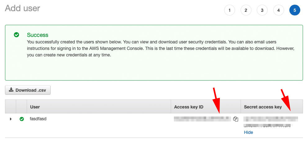 AWS Acess key and id